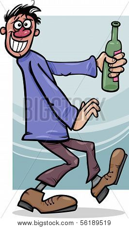 Drunk Guy With Bottle Cartoon Illustration