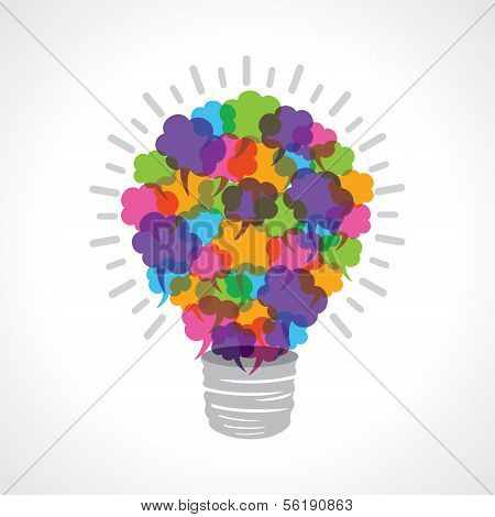 Creative light-bulb of colorful message bubble