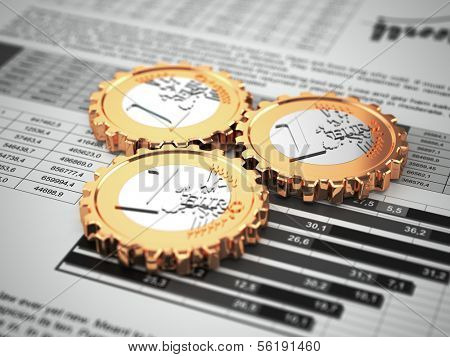 Euro coins as gear on business graph. Financial concept. 3d