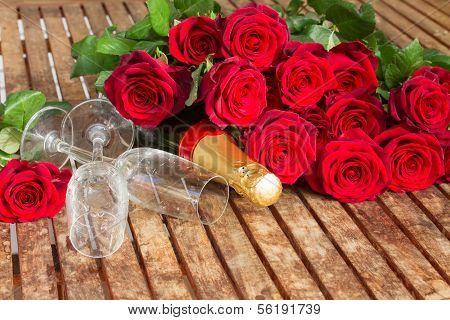 Valentine's day  dark red  roses