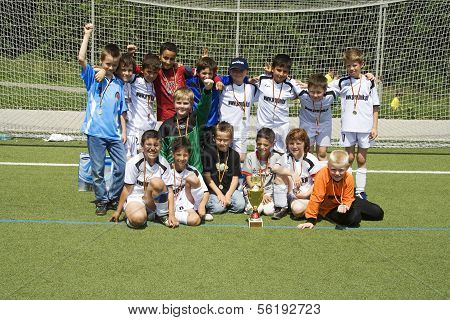 Soccer Team Bsc Schwalbach After Winning The Cup