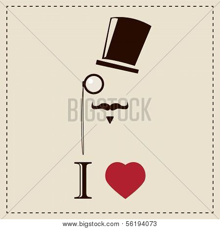 Gentleman hipster card with monocles and top hat, vector