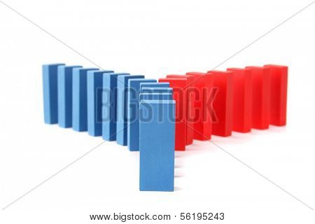 Colored blocks standing next to each other. All isolated on white background.
