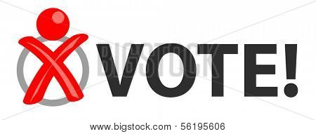 A stylized person out of a cross like on a ballot. All isolated on white background.
