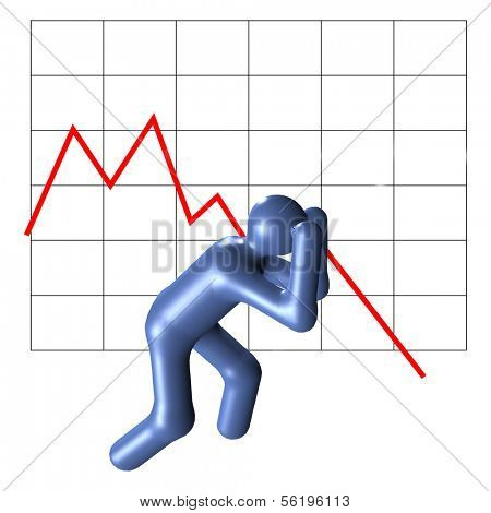 An illustrated person in desperate mood in front of a crashing chart