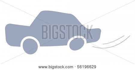 A symbolic illustration of an car. Isolated on white background.