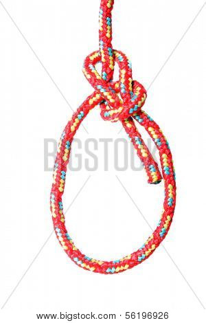 A fine knotted bowline in front of white background