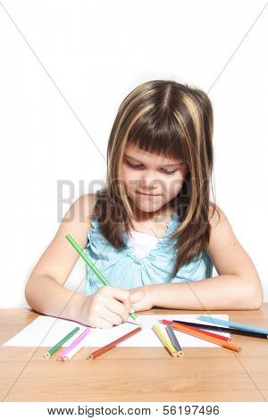 A young girl painting a picture. All isolated on white background.