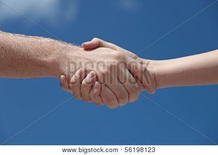 A man and woman handshaking in front of a bright blue sky.
