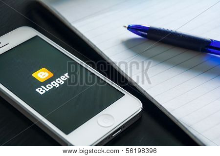 Concept of modern technology. Mobile blogging.