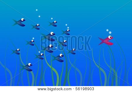 Illustration of a red colored fish leading a swarm of blue colored fishes.
