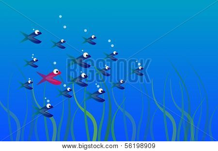 Illustration of a red colored fish between a swarm of blue colored fishes.