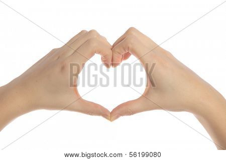 Human hands forming a heart. All isolated on white background.