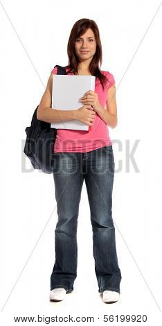 An attractive student standing in front of a plain white background.