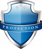 foto of shield  - Glossy Shiny  Vector Shield Protection Icon Design - JPG