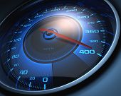 stock photo of speedometer  - Speedometer scoring high speed - JPG