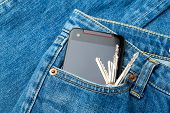 Jean pocket with mobile and key