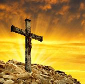 stock photo of evangelism  - Jesus Christ on The Cross in the sunset - JPG