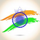 pic of ashoka  - Happy Indian Republic Day concept with Ashoka Wheel on national flag colors on grey background - JPG