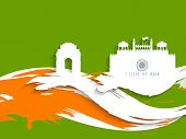Happy Indian Republic Day concept with silhouette of India Gate, Red Fort on national flag color wav