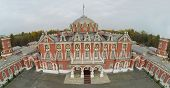 MOSCOW - OCT 10: View from unmanned quadrocopter on beautiful building of Petroff Palace and empty a