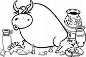 Bull In A China Shop Coloring Page