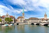 foto of zurich  - Limmat river and famous Zurich churches - JPG