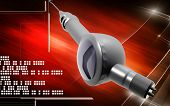 stock photo of dental impression  - Digital illustration of Micro motor dental polisher   in colour background - JPG