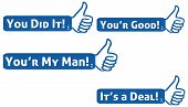 pic of you are awesome  - Positive messages on a blue blocks with thumb up symbol - JPG