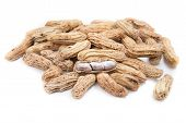 stock photo of groundnuts  - Boiled peanuts or groundnuts on white background - JPG
