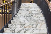 picture of upstairs  - Art deco marble stairs in shopping center Berlin - JPG