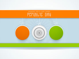 picture of ashoka  - Happy Indian Republic Day concept with glossy balls in national flag colors with Ashoka Wheel on blue background - JPG