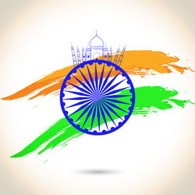 pic of ashoka  - Happy Indian Republic Day concept with Ashoka Wheel on national flag colors on grey background - JPG