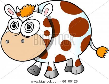 Crazy Insane Cow Vector Illustration Art