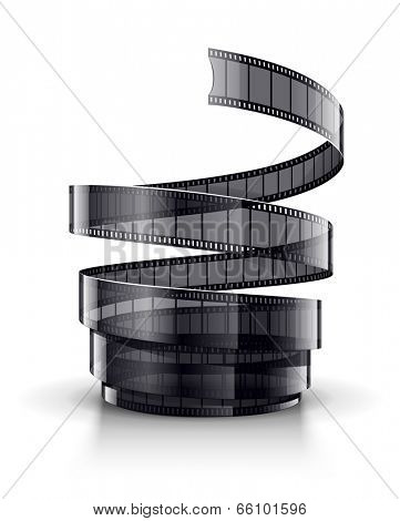 spiral of cinematography film tape. Rasterized illustration.