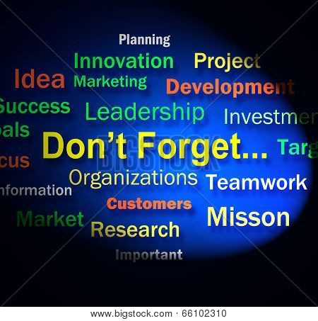 Dont Forget Words Shows Remembering Business Components