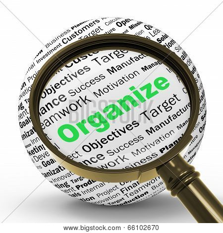 Organize Magnifier Definition Shows Structured Files Or Manageme