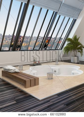 Sunken trefoil shaped hot tub or spa bath in a modern bathroom overlooked by large sloping windows with an urban view