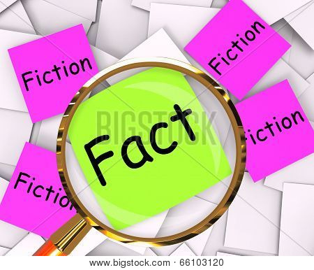 Fact Fiction Post-it Papers Mean Truth Or Myth