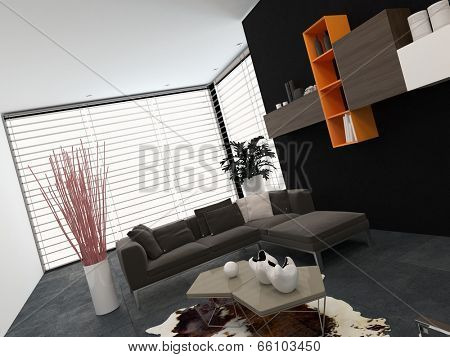 Modern living room with a glass wall covered by a blind, wall-mounted shelves and a comfortable lounge suite in shades of grey with small colored accents