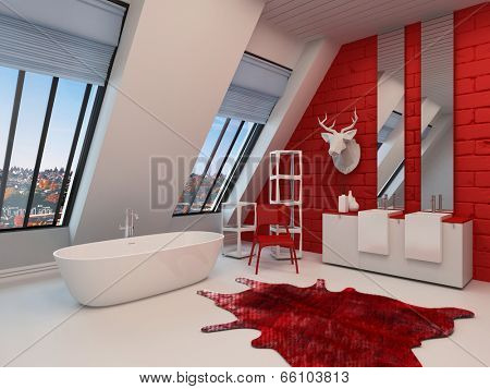 Dramatic spacious red and white bathroom interior with a freestanding tub, sloping wall with view windows, double vanity and a trophy on the wall