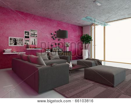 Modern living room interior with a comfortable upholstered lounge suite, houseplants, an overlay parquet floor and maroon wall overlooking a large view window along one wall