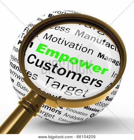 Empower Magnifier Definition Means Motivation And Business Encou
