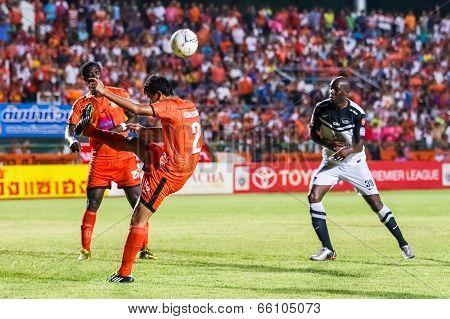 Sisaket Thailand-may 28: Chatchai Mokkasem Of Sisaket Fc. (no.2, Orange) Clear The Ball During Thai