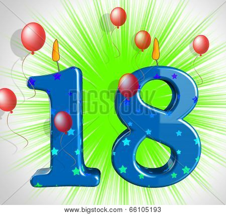 Number Eighteen Party Show Teen Birthday Or Decoration
