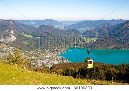 Cableway And A View  Of St. Gilgen Near Wolfgangsee