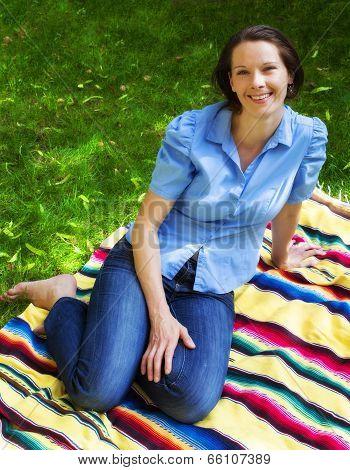 Woman Lying In Park