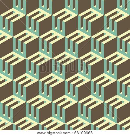 3d blocks structure background. Seamless geometric pattern. Vector illustration.