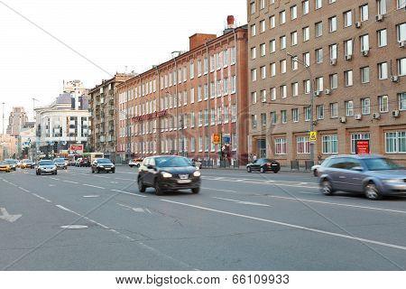 Car Traffic On Novoslobodskaya Street In Moscow