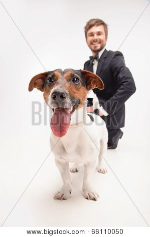 Isolated portrait of owner with his dog